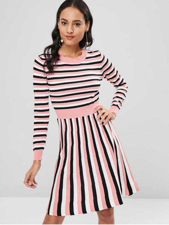 online Striped Knitted A Line Dress - PIG PINK ONE SIZE