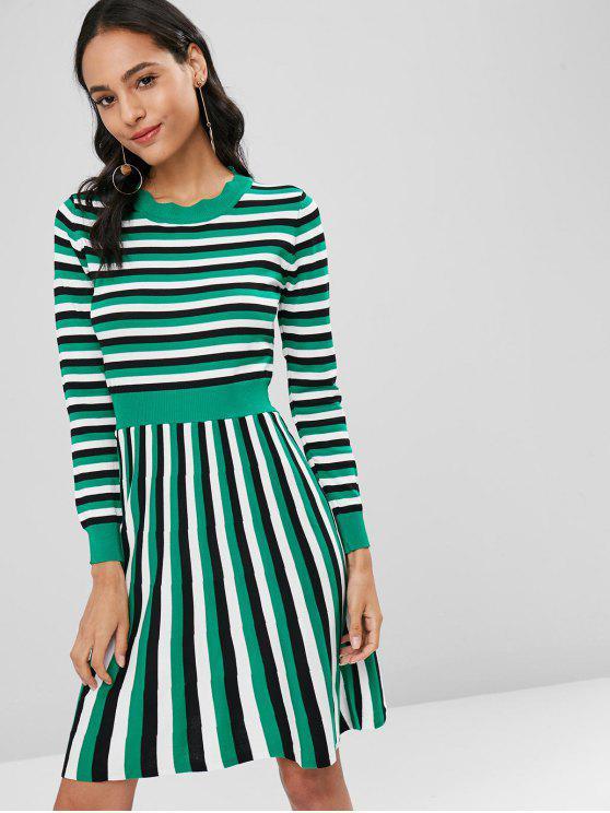 Gestreifte Strick A Linie Kleid - Blaugrün Eine Größe