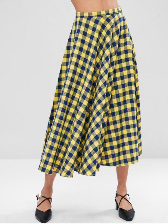 chic Checkered Full Midi Skirt - MULTI S