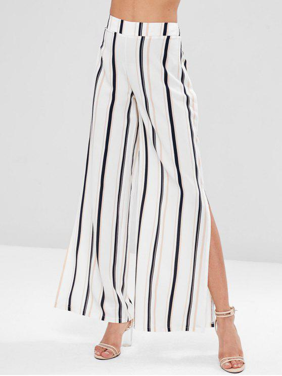 womens Striped Split Palazzo Wide Leg Pants - MULTI S