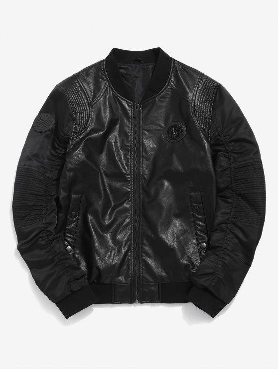 chic Motorcycle PU Leather Bomber Jacket - BLACK L