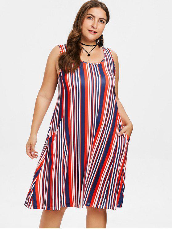women's Plus Size Sleeveless Striped Dress - MULTI 3X