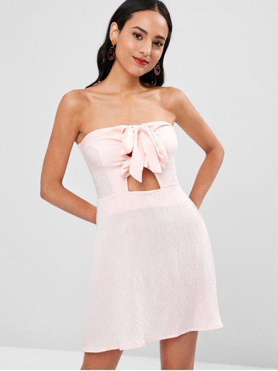 shop Double Knot Tie Strapless Dress - PINK BUBBLEGUM L
