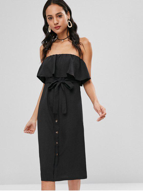 chic Buttoned Flounce Strapless Dress - BLACK S