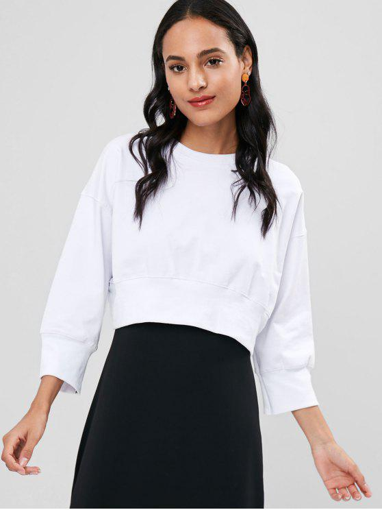 outfit Crop Drop Shoulder Sweatshirt - WHITE ONE SIZE