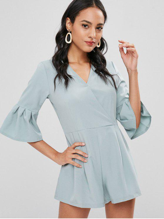15090671454a 29% OFF  2019 Flared Sleeve Surplice Romper In BABY BLUE