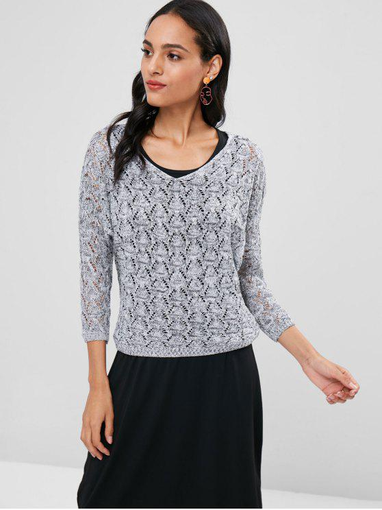 30470bc0181 26% OFF  2019 Open Knit Sweater Tank Dress Two Piece Set In GRAY ...