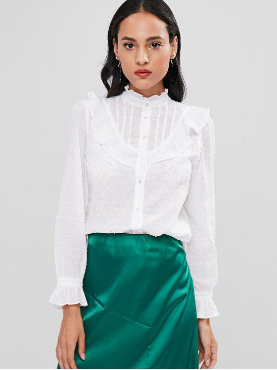 Ruffles Textured Shirt   White M by Zaful