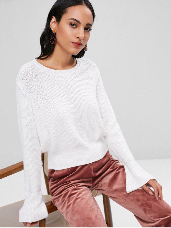 Bell Hülsen Pullover - Weiß Eine Größe