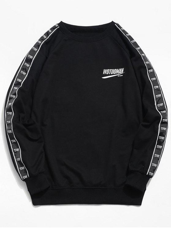 Brust Logo Seitenstreifen Sweatshirt - Schwarz L