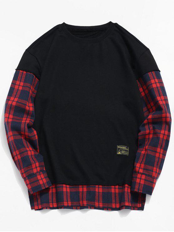 trendy Check Patchwork Fake Two Piece Sweatshirt - BLACK L