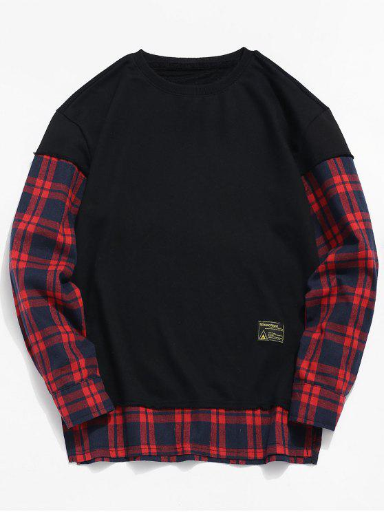 677385f5118c2 Check Patchwork Fake Two Piece Sweatshirt