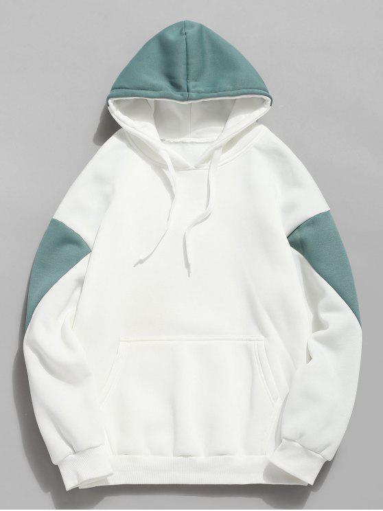 Colour Block Pouch Taschen Fleece Hoodie - Grün L