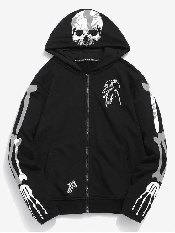 sale Graphic Embroidery Zip Hoodie - BLACK 3XL