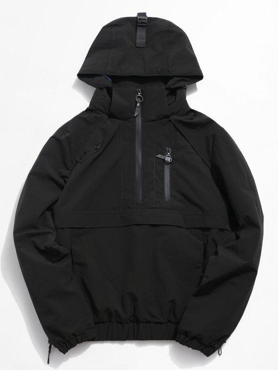women Half Zip Pocket Rain Jacket - BLACK XL