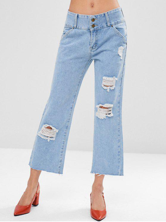 hot Ripped Cropped Jeans - DENIM BLUE S