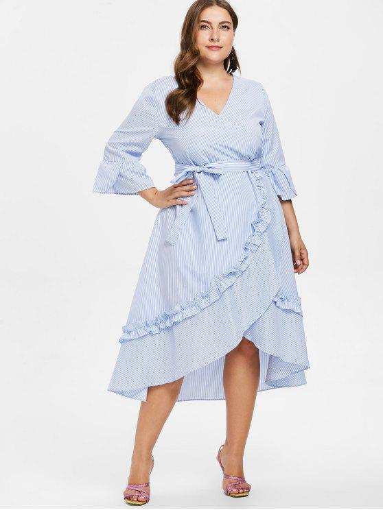 Plus Size Striped Ruffles Belted Dress LIGHT BLUE