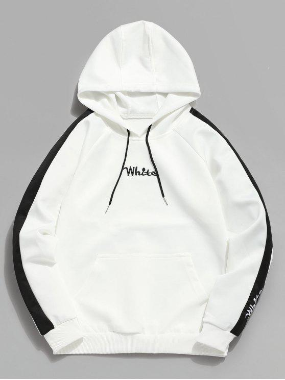 buy Contrast Embroidery White Pocket Fleece Hoodie - WHITE L