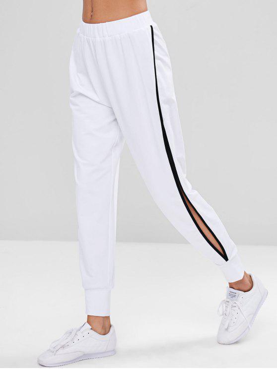 latest High Waisted Slit Sports Pants - WHITE M