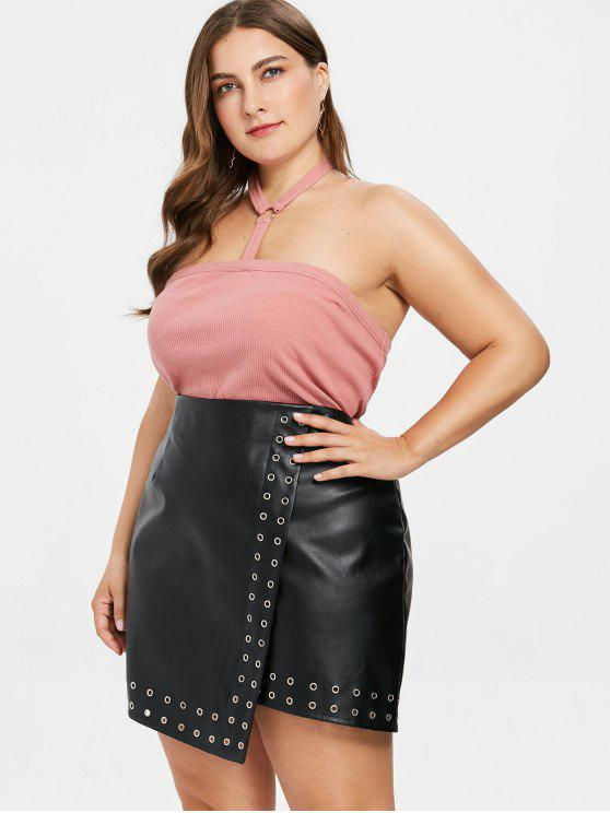 lady Plus Size Choker Knit Bandeau Top - PINK BOW 2X