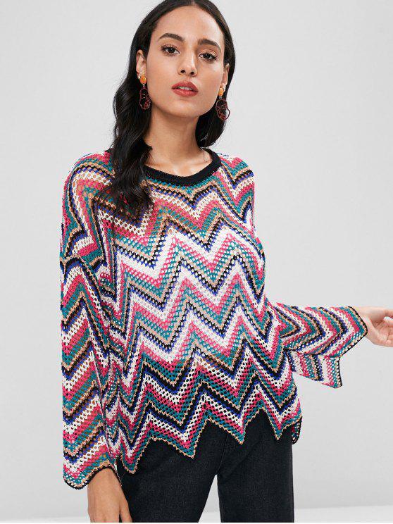 Suéter calado zigzag - Multicolor Talla única