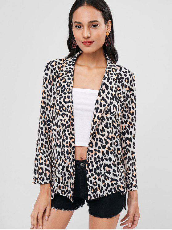 fancy Leopard Print Lapel Collar Blazer - LEOPARD M
