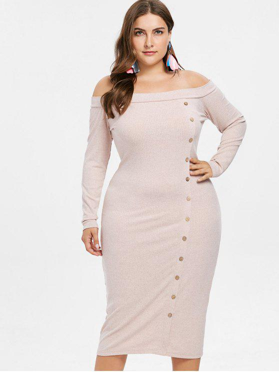 hot Off Shoulder Plus Size Knitted Dress - PINK BUBBLEGUM L