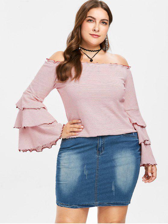 T-Shirt Plus Size A Righe Con Maniche Svasate A Strati - Multi Colori 3X