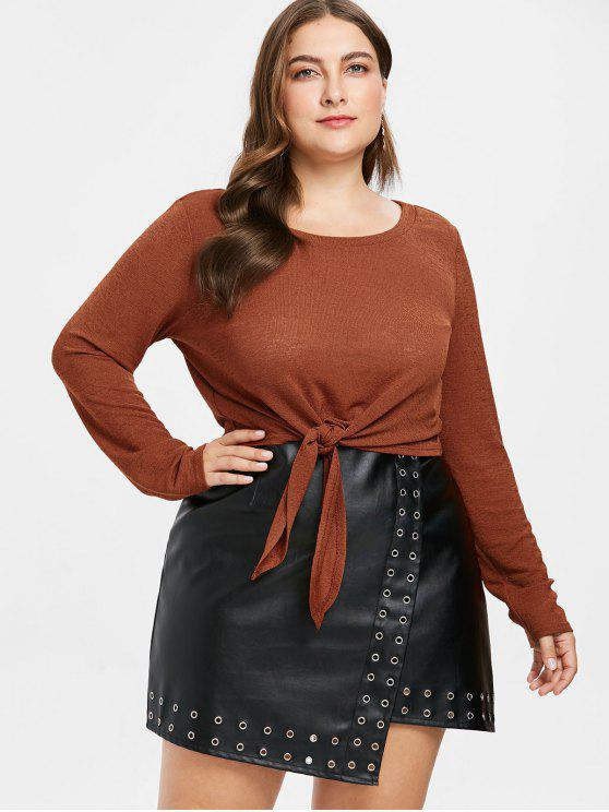 2018 Front Knot Plus Size Knitted Tee In Caramel 4x Zaful