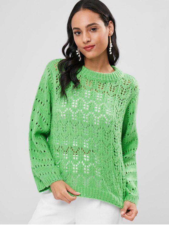 Открытая перемычка вязаного свитера - Зеленый S