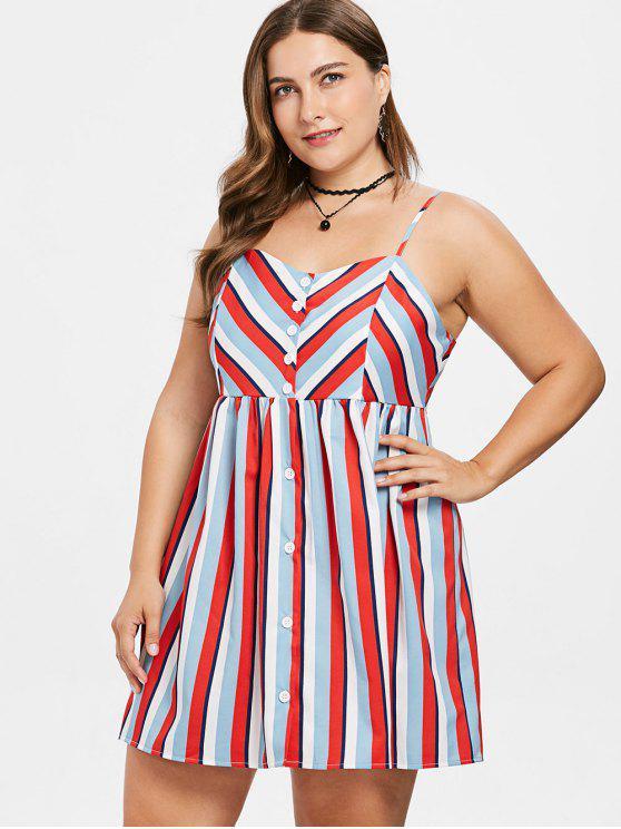ZAFUL Striped Cami Plus Size Mini Dress
