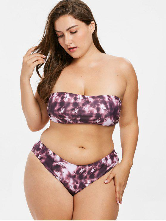 c8342691938 22% OFF] 2019 Bandeau Plus Size Tie Dye Bikini Set In MULTI | ZAFUL