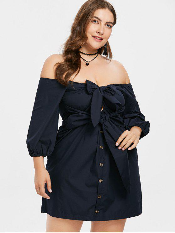 Front Knot Plus Size Off Shoulder Dress MIDNIGHT BLUE