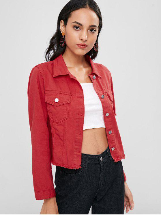 trendy Distressed Button Up Shirt Jacket - LOVE RED L