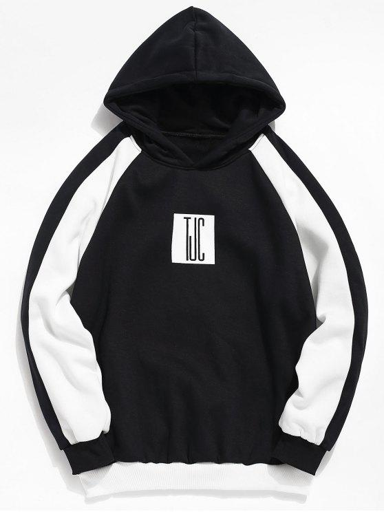 trendy Color Block Graphic Pullover Hoodie - BLACK S