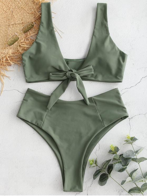 sale Bowknot High Waisted Bikini Set - SEA TURTLE GREEN S