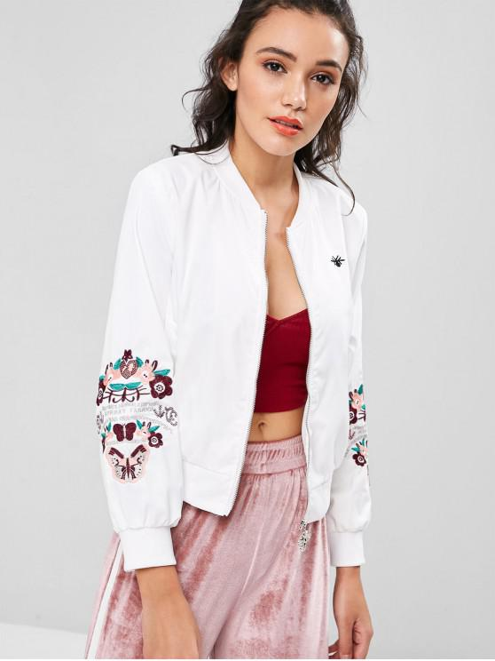 latest Zipper Flower Embroidered Jacket - WHITE S