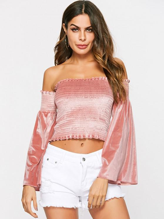 Off Shoulder Velvet Bell Sleeve Smocked Top - ارتفع S