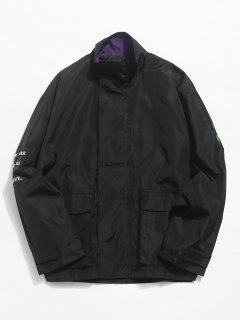 Patch Embroidery Pockets Waterproof Zip Jacket - Black L