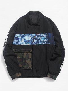 Contrast Patch Snap Button Waterproof Jacket - Black L