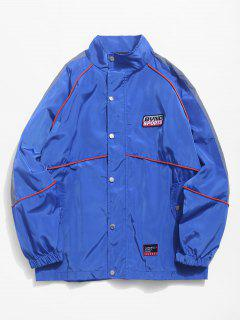 Striped Embroidery Letters Snap Button Jacket - Earth Blue M