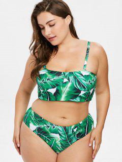 Palm Blatt Übergroße Bandeau Bikini - Multi 2x