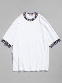 Letter Tape Elastic Patch T-shirt - White L