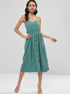 Vestido A Media Pierna Con Botones De Cami - Azul Verde M