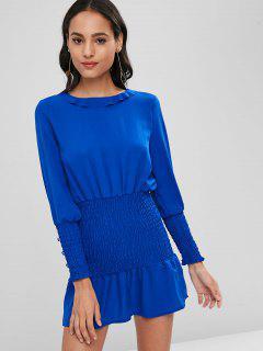 Long Sleeve Smocked Mini Dress - Blue L