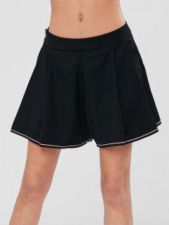 Pleated Front Pockets High Waisted Shorts - Black L