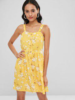 Tie Back Floral Buttoned Mini Dress - Yellow L