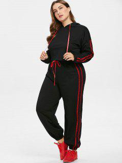 Contrast Side Plus Size Hoodie And Pants Set - Black 2x