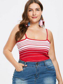 Plus Size Striped Crop Cami Top - Fire Engine Red 3x