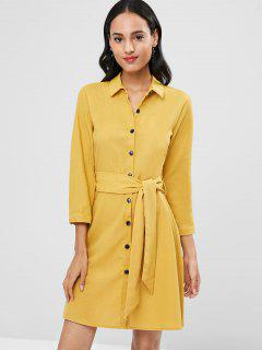 Button Up Flared Belted Shirt Dress - Yellow M